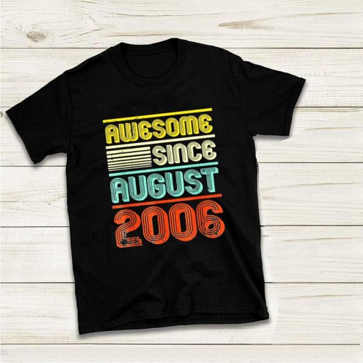Awesome since august 2006 vintage 13th birthday shirt