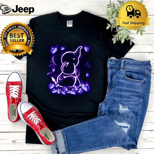 Butterfly And Elephant Magical Purple Elephant Lovers T shirt