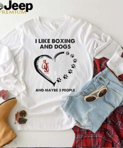 I like boxing and dogs and maybe 3 people flower heart shirt