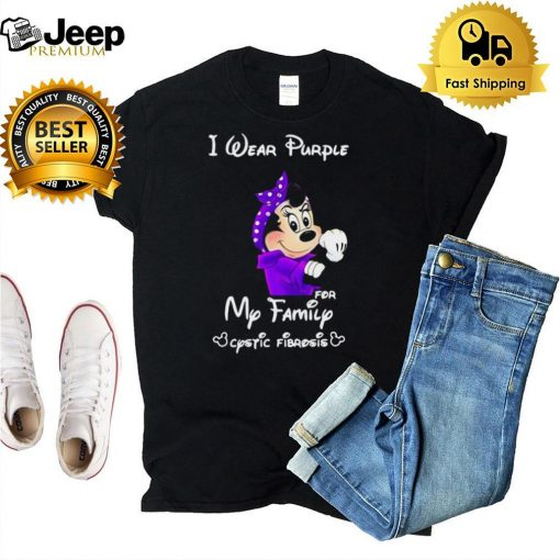 Mickey I Wear Purple For My Family Cystic Fibrosis T shirt