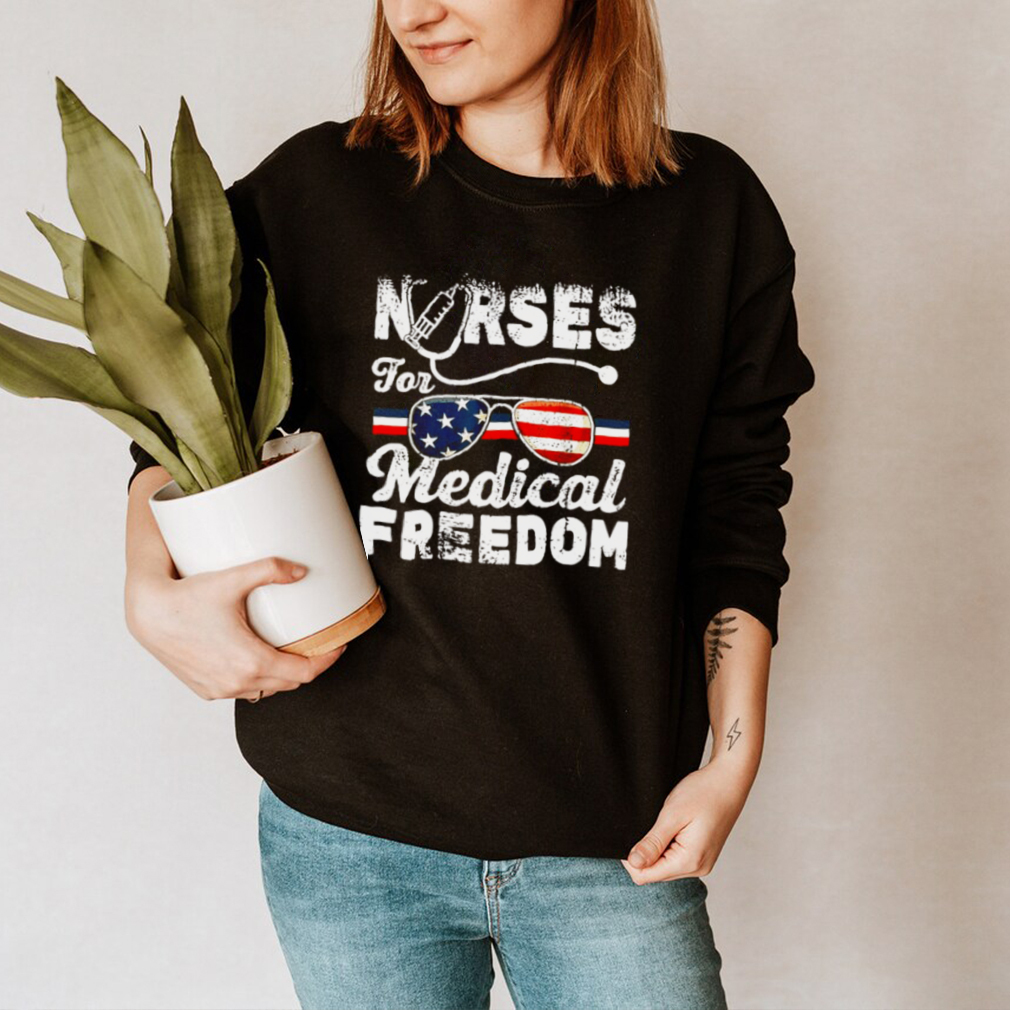 Nurses for medical freedom glasses American flag hoodie, tank top, sweater and long sleeve