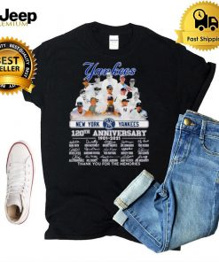 Official New York Yankees 120th anniversary 1901 2021 thank you for the memories signatures shirt