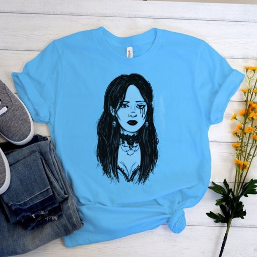Sexy Goth Girl Vampire Horror Undead Illustrated T shirt
