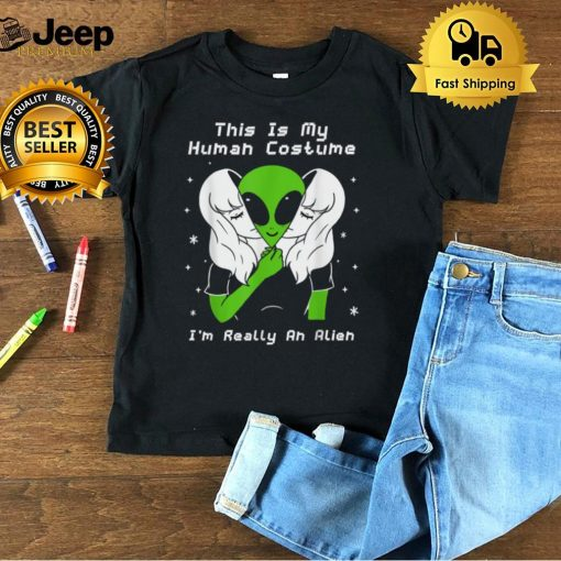 This Is My Human Costume I'm Really An Alien Funny Halloween T Shirt B09FS4L8HZ