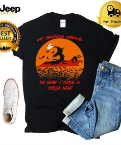 Witch And Black Cat My Broom Broke So Now I Rate A Yoga Mat Halloween T shirt